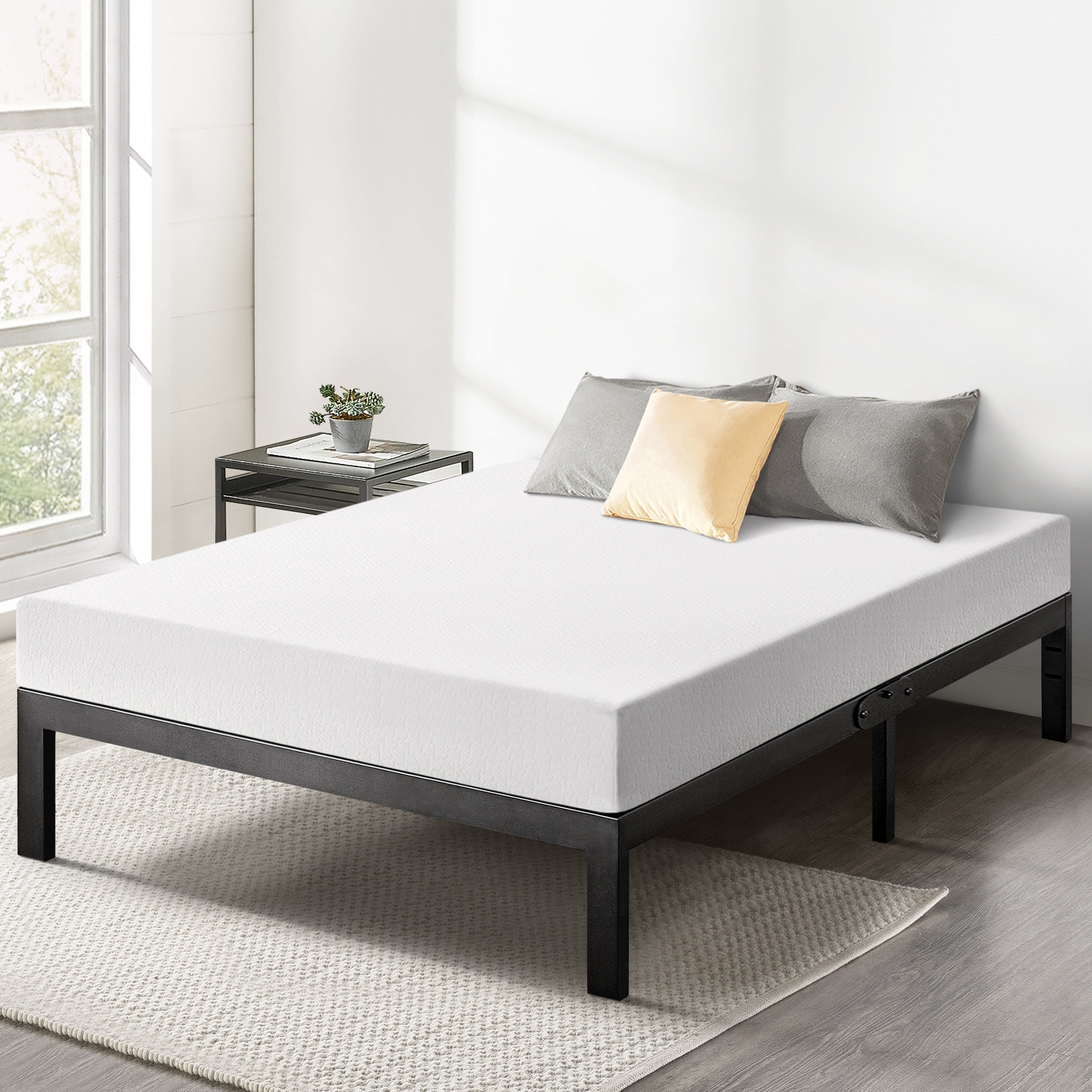 8 Inch Green Tea Memory Foam Mattress And 14 Inch Metal Platform Bed Frame Set Overstock 32887826