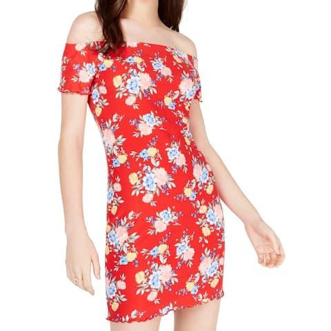 Ultra Flirt Red Large L Junior Off Shoulder Floral Print Sheath Dress