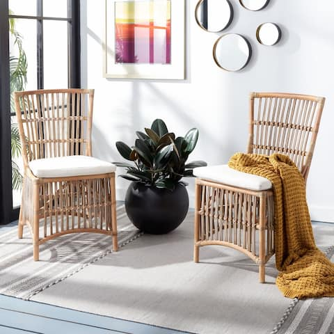 "Safavieh Erika GreyWhiteWash/White Rattan Accent Chair with Cushion - 19.7"" W x 22.1"" L x 35.4"" H"