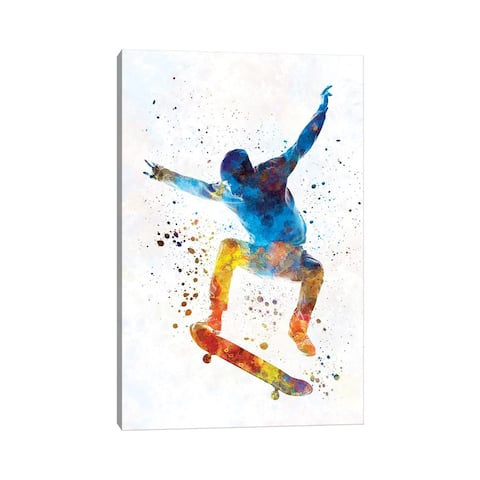 """iCanvas """"Skateboarder In Watercolor I"""" by Paul Rommer Canvas Print"""
