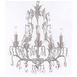 White Wrought Iron Floral Chandelier Lighting with Pink Hearts!
