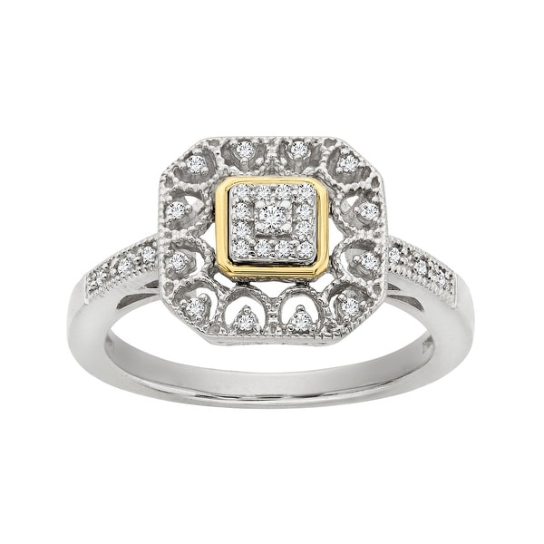 1/10 ct Diamond Ring in Sterling Silver and 14K Gold