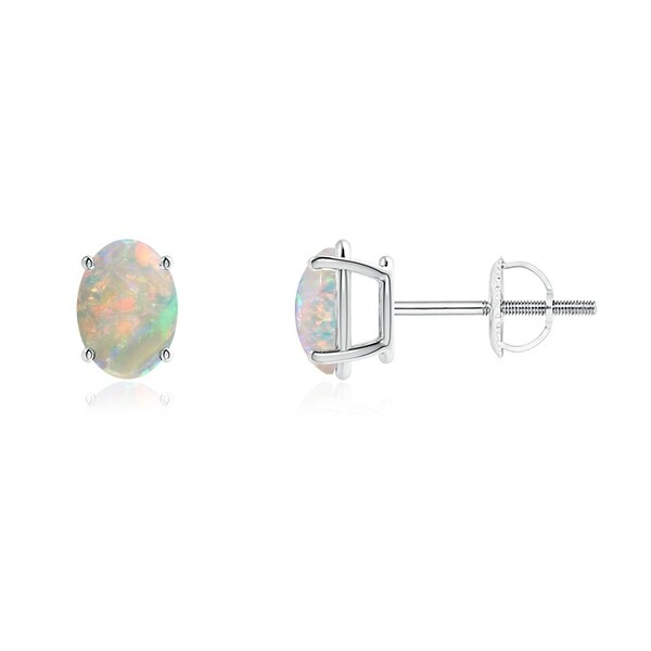 Angara Bar Set Opal Stud Earrings in White Gold - October Birthstone Studs p8fqTih6T