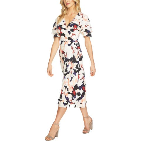 1.State Womens Wrap Dress Floral Ruffled