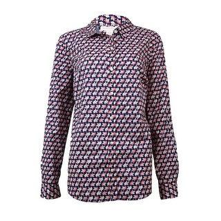 Charter Club Women's Fold-Collar Bird-Print Buttoned Shirt - intrepid blue combo (5 options available)