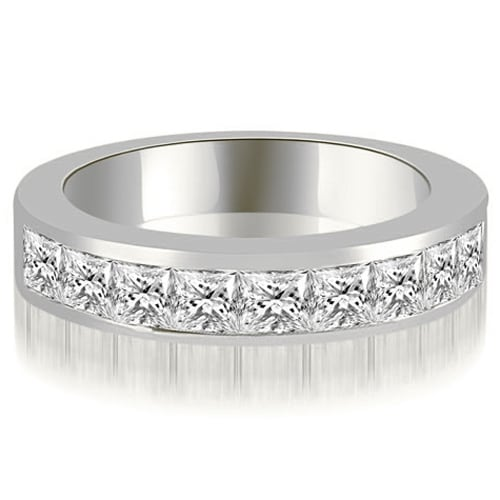 1.80 cttw. 14K White Gold Princess Diamond 9-Stone Channel Wedding Band