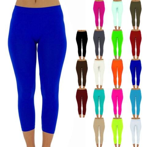 Womens capri leggings seamless skinny slim fit cropped solid yoga pants one size