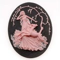 Lucite Oval Cameo - Black With Pink Art Deco Lady Of The Forest 40x30mm (1) - Thumbnail 0