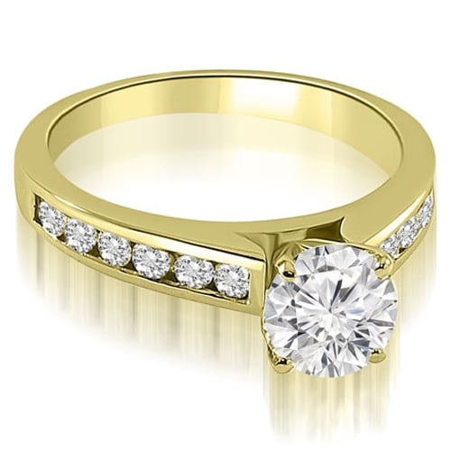 1.25 cttw. 14K Yellow Gold Cathedral Channel Round Cut Diamond Engagement Ring
