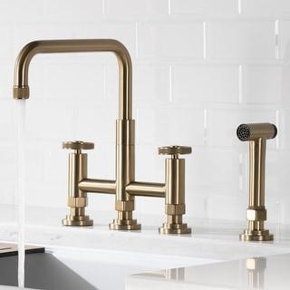 Link to Kraus KPF-3125 Urbix Industrial Bridge Kitchen Faucet w/ Side Sprayer Similar Items in Faucets
