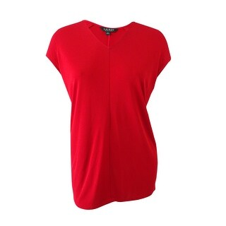 Lauren Ralph Lauren Women's Plus Size Dolman-Sleeve Jersey Top - Red - 2x
