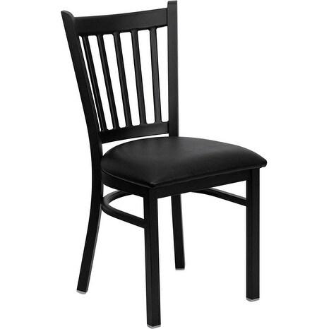 Dyersburg Black Vertical Back Metal Restaurant/Pub/Bar Chair w/Black Vinyl Seat