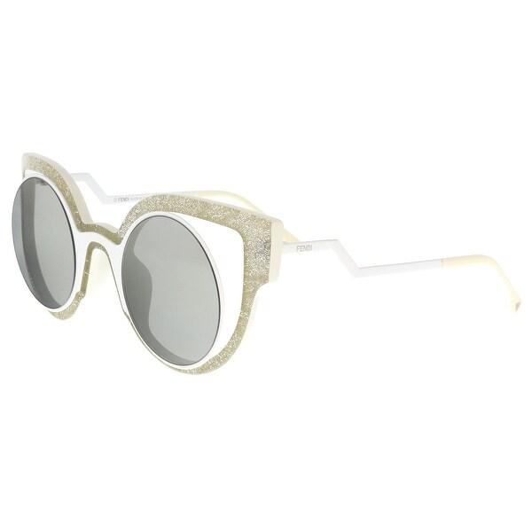 169a6d25c3dd Shop FENDI 0137 S 0NU6- SS White Glitter Round Sunglasses - 49-28 ...