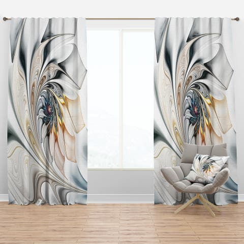 Designart 'White Stained Glass Floral' Modern Blackout Curtain Panels