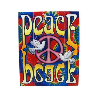 Brightly Painted Tie-Dye Peace Dove Wooden Slat Wall Hanging - Blue