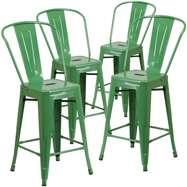 """4 Pack 24"""" High Metal Indoor-Outdoor Counter Height Stool with Back"""