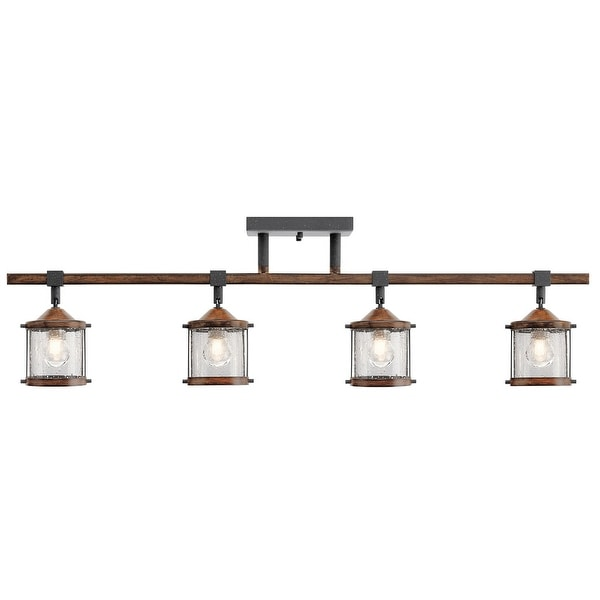 Aztec 4-light Distressed Black/ Aged Wood Flush Mount Fixture. Opens flyout.