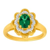 7/8 ct Created Emerald Ring with Diamonds in 14K Gold-Plated Sterling Silver