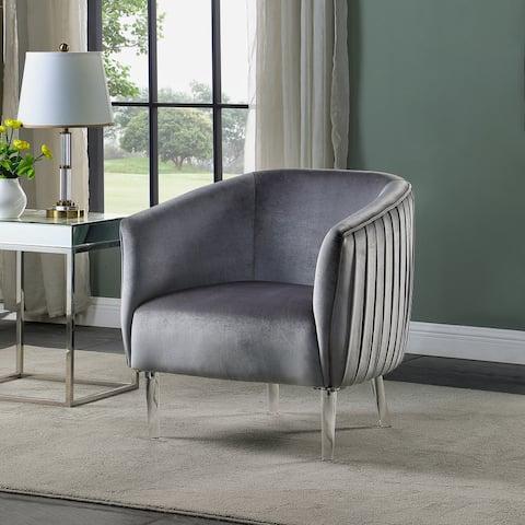 Corvus Riley Curved Back Velvet Barrel Accent Chair