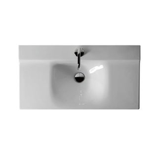 "WS Bath Collections Buddy 3423 Kerasan 39-3/8"" Ceramic Wall Mounted Bathroom Sink with 1 Hole Drilled and Overflow"