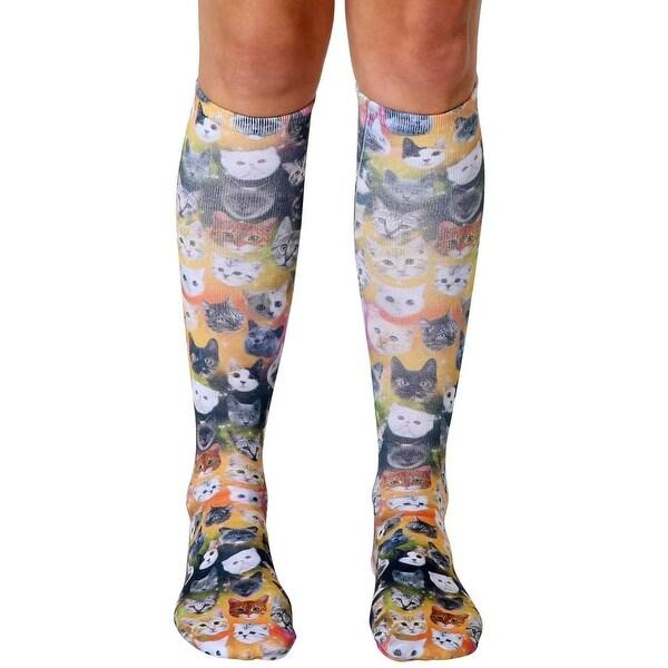 Living Royal Photo Print Knee High Socks: Galaxy Kitty - Multi