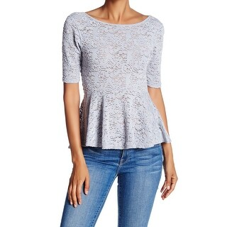 Free People NEW Silver Womens Size Medium M Floral Lace Peplum Knit Top