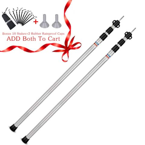 """90""""Adjustable Tarp Poles Set of 2 Telescoping Aluminum Rods for Tent Fly and Tarps, Lightweight Replacement Tent Poles - 2 Pack"""