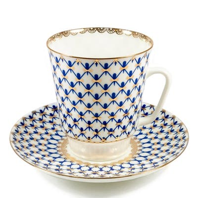 Imperial Porcelain Factory May Cobalt Netting Teacup and Caucer