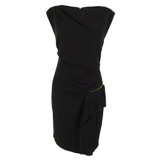 INC International Concepts Women's Ruched Zip Detail Dress - Black