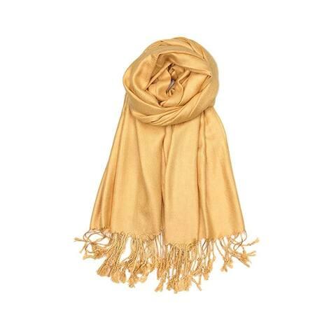 Classic Silk Blend Pashmina Large Scarf Shawl with Fringe Tassels