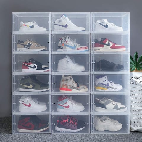 White Foldable Clear Sneaker Display Storage Shoe Box-4 Pack