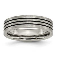 Titanium Enameled Flat 6mm Satin & Polished Band