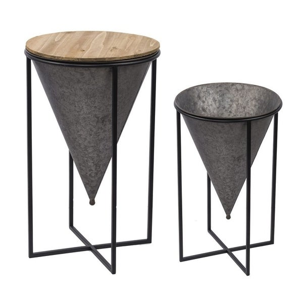 """Set of 2 Brown and Silver Table and Plant Stand 21.25"""" - N/A"""