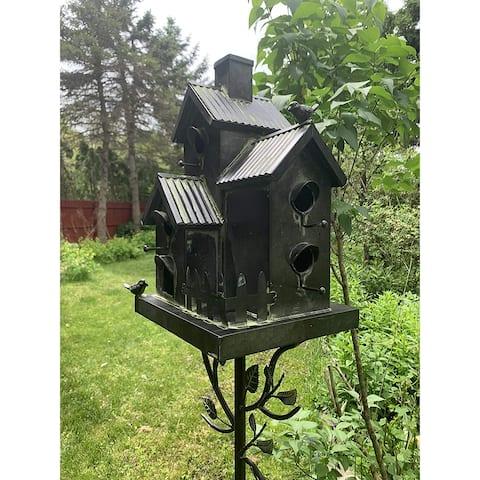 Galvanized Condo Birdhouse Stake with Fence