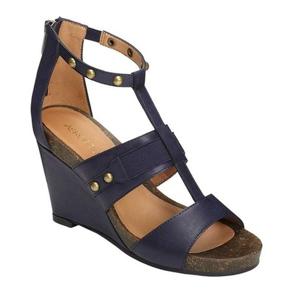 Shop Aerosoles Women s Watermark Wedge Sandal Dark Blue Faux Leather ... 04ec663bded3