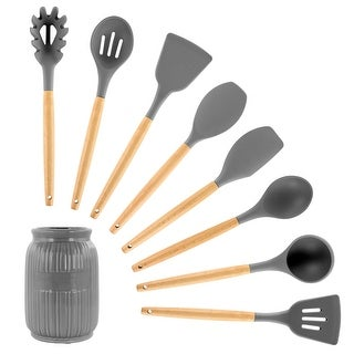 Link to MegaChef 9 Piece Gray Silicone and Wood Kitchen Utensil Set Similar Items in Cooking Essentials