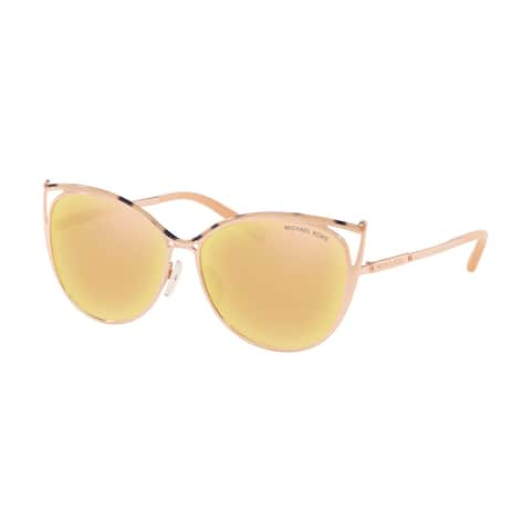 Michael Kors Women's MK1020 11657J 56 Liquid Rose Gold Metal Cat Eye Sunglasses