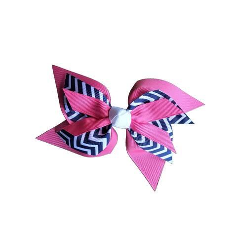 Promarx Girls Pink Contrast Chevron Stripe Pattern Layered Bow Ponytail Holder - One Size