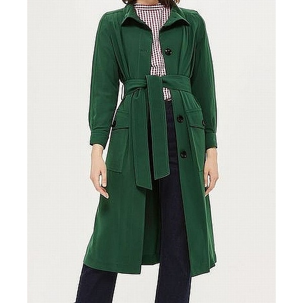 e9c6db383d17 Shop TopShop NEW Green Women's Size 4 Button-Front Belted Duster Coat -  Free Shipping Today - Overstock - 21615834
