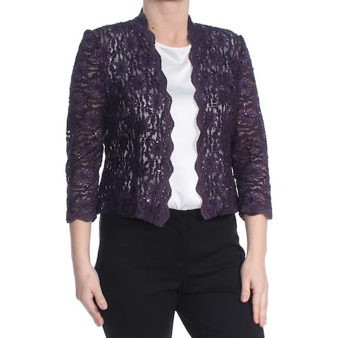 ALEX EVENINGS Womens Purple Sequined Open Cardigan Evening Top Petites Size: 6