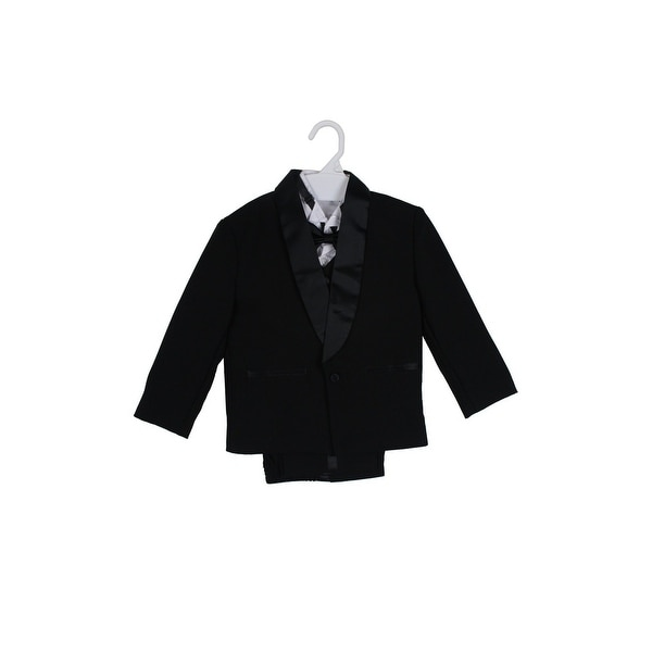Paperio Boys Tuxedos Modern Dresswear Set with Bow Tie, Vest Black