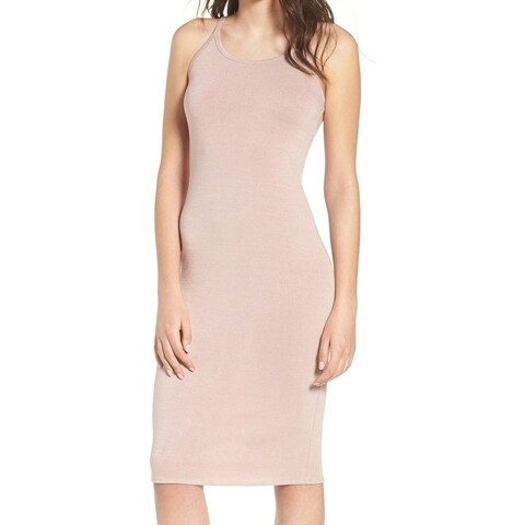 Leith Blush Pink Womens Size Large L Halter Stretch Bandage Dress