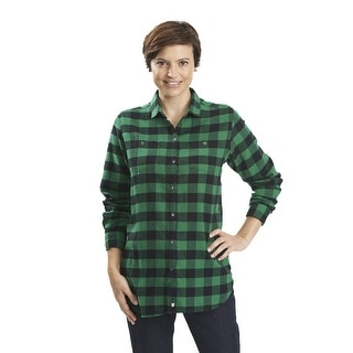 Woolrich Buffalo Check Boyfriend Long Sleeve Plaid Shirt - Sizes XS -L (Relaxed Fit) - black forest pine green