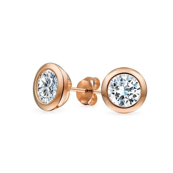 2ba4b7592df Shop Classic Martini Set Cubic Zirconia Colorless Round CZ Stud Earrings  For Women 14K Rose Gold Plated Sterling Silver 7MM - On Sale - Free Shipping  On ...