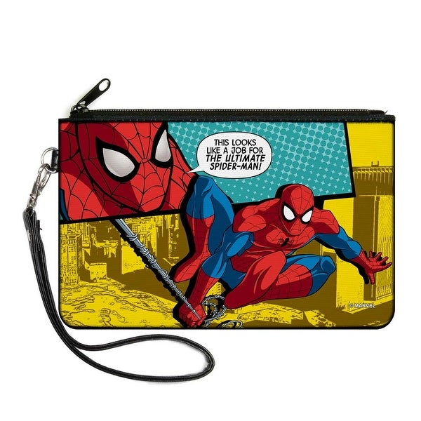 Marvel Universe Spider Man Face Action Pose Quote Bubble This Looks Like A Canvas Zipper Wallet