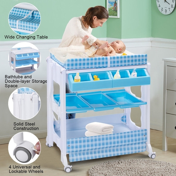 Costway Baby Infant Bath Changing Table Diaper Station Nursery Organizer Storage w Tube - Blue