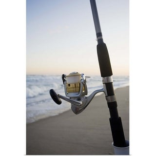 """""""Fishing pole on the beach"""" Poster Print"""