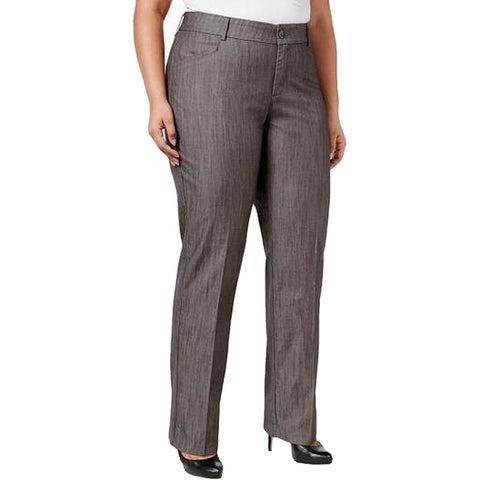 Lee Gray Womens Size 16W Plus Flat-Front Dress Pants Stretch