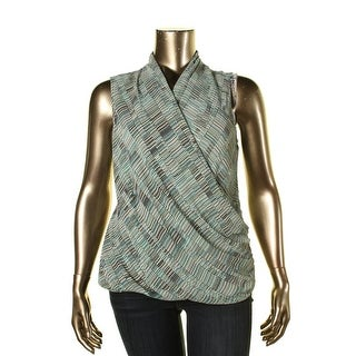 Nic + Zoe Womens Mixed Dots Wrap Top Faux Wrap Printed Blouse