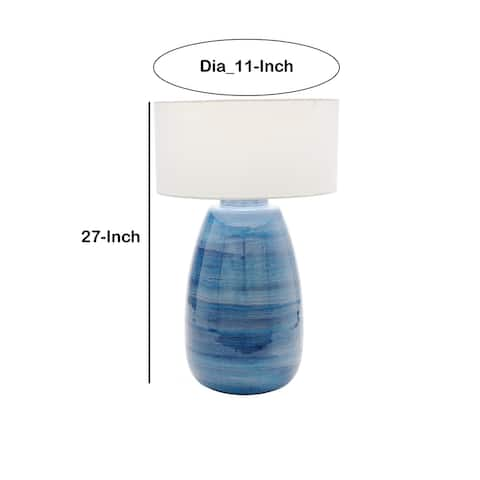 Metal Table Lamp with Curved Vase Design Base, Blue